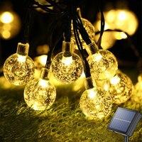 Luci a stringa solari per esterni 60 Led luci a globo in cristallo impermeabile festone solare fata luce per decorazioni natalizie in giardino