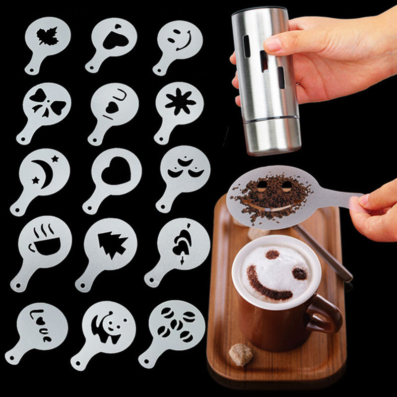 16pcs Cappuccino Mold Fancy Coffee Printing Model Foam Spray Cake Stencils Powdered Sugar Chocolate​ Cocoa Coffee Printing