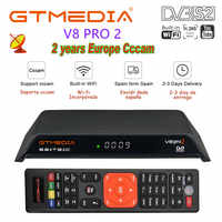 GTMedia V8 Pro2 DVB-T2/S2/Cable/S2X Satellite Receiver H.265 Built-in WIFI with 2 year 6line cccam Support IPTV PowerVu Biss key