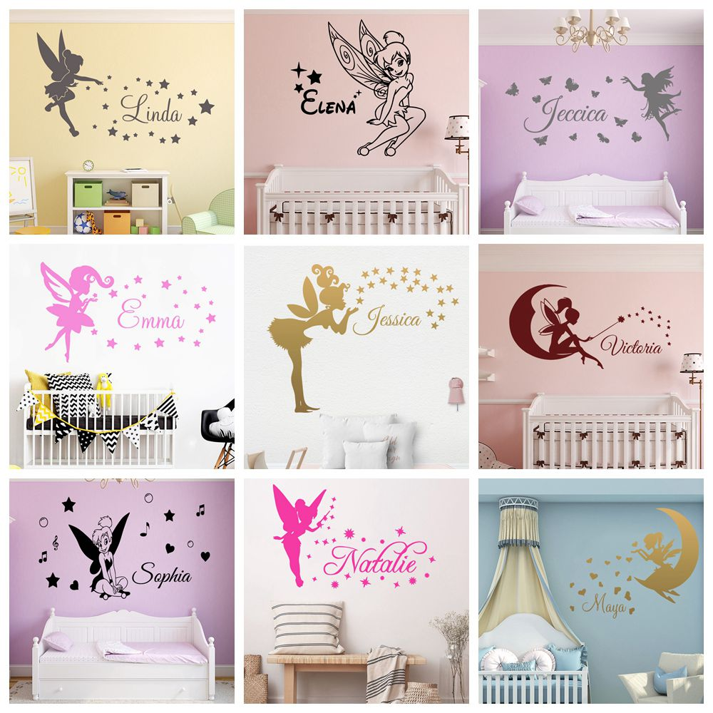 Fairy Stars Personalised Girls Room Decal Custom Name Magical Angel Wall Sticker for Nursery Girls Baby Kids Child Bedroom Decor