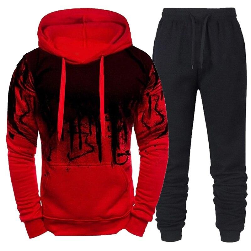 2021 Men's Sets Hoodies+Pants Casual Fleece Cotton Streetwear Jogger Sweatshirts Suit Streetwear Outfits Oversized TrackSuit