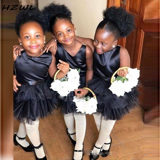 African Black Girls Mini Flower Girls Dresses For Wedding Tutu Skirt Cheap Kids Birthday Gowns Formal Wear First Communion Dress