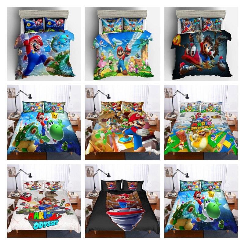 Cartoon Printed Super Mario Bros Bedding Duvet Cover Set Single Twin Queen Size For Children Bed Linen Set Home Textile Supply