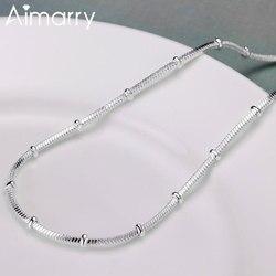 Aimarry 925 en argent Sterling 18 pouces serpent chaîne collier pour femmes hommes cadeaux d'anniversaire de mariage bijoux de mode