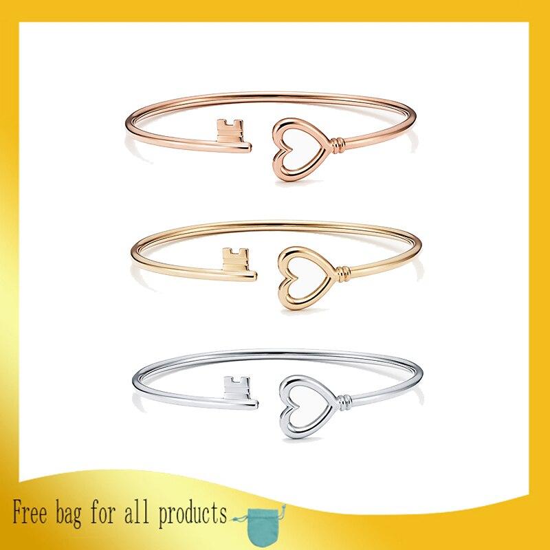 Femmes bracelet 925 bijoux en argent Sterling en forme de coeur ouverture argenterie Couple clé bracelet accessoires saint valentin cadeau