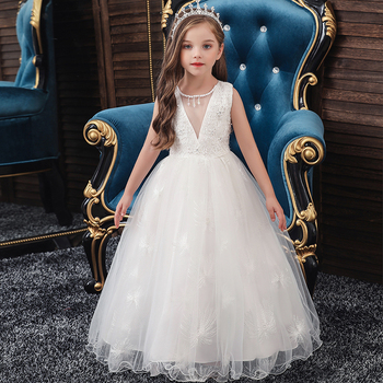 Kids Girls Princess White Dress Evening Tutu Dresses Summer Baby Girl Clothes Long Dress Birthday Party  Vestido Wear 3-12 Years 2017 baby girl dress children kids dresses for girls 3 4 5 6 7 8 year birthday outfits dresses girls evening party formal wear