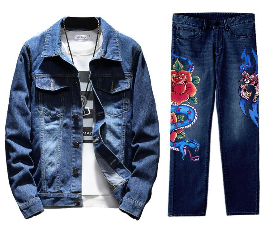 Men's Retro Destroyed Coat Jean Denim Jacket Outerwear Pants Trousers Set HEART Coat Blue 2PC