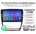 Автомобильное радио Ossuret, 10,1 дюйма, 4G, Wi-Fi, 2din, Android 10, мультимедийный видеоплеер, навигация GPS для SKODA Octavia 2 A5 2008-2013, головное устройство
