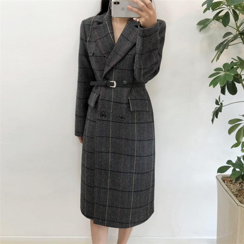Autumn Winter Women Plaid Warm Wool Blends Office Lady Long Slim Lapel Long Sleeve Outwear With