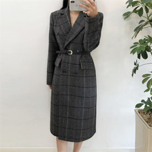 Autumn Winter Women Plaid Warm Wool Blends Office Lady Long