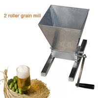 YUEWO Barley Grinder Crusher Stainless 2 Roller Grain Mills Machine Homebrews Beer Brewing Grain Crusher Machine For Grains Corn