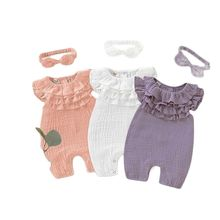 2021 Summer Cute Baby Girl Clothes Solid Cotton Bodysuits New Arrival Newborn Clothes Jumper Customized  MQRTS-PF2012020