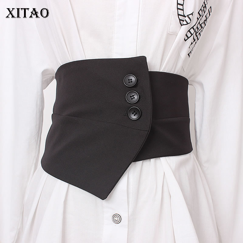 XITAO Irregular Women Cummerbunds Black Button Elastic Waist Small Fresh Minority Fashion New 2019 Autumn Cummerbunds ZLL4416