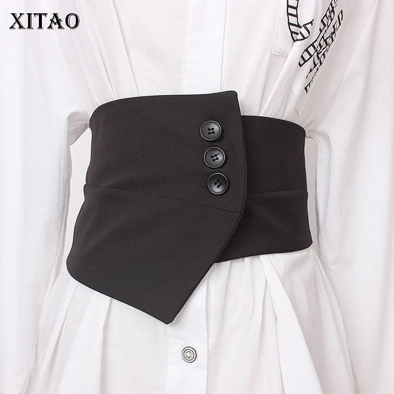 XITAO Irregular Women Cummerbunds Black Button Elastic Waist Small Fresh Minority Fashion New 2019 Autumn Cummerbunds ZLL4416