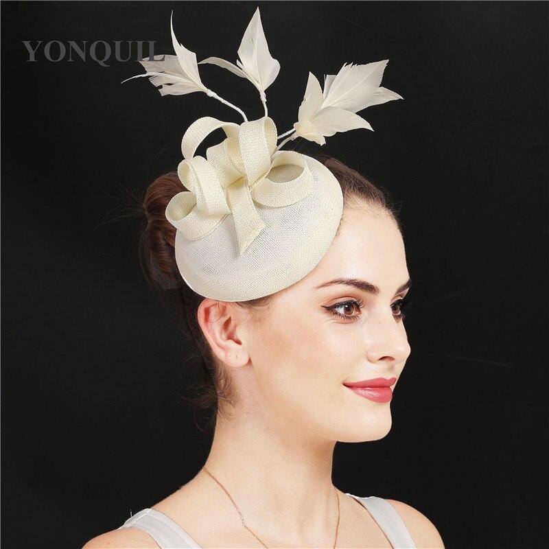 Новые женские шляпки с сеткой цвета хаки, модные женские шляпы с лентами для свадебной вечеринки, красивые аксессуары SYF570 - Цвет: Слоновая кость