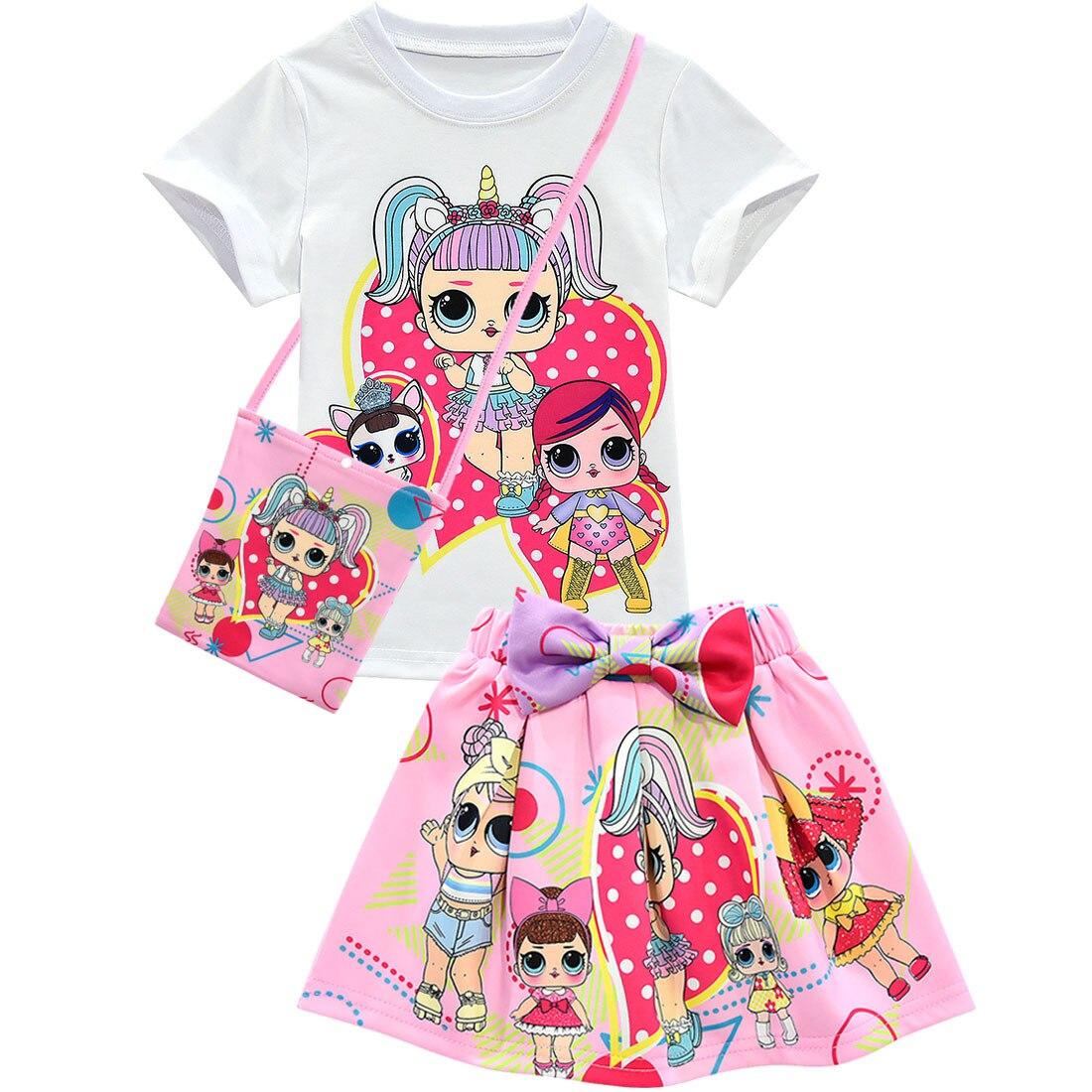 Summer Toddler Girls Lol Clothes Set Cartoon Cute Kids Party Dresses For Kids Clothing Princess Dress Cotton T-shirt+skirt Bag
