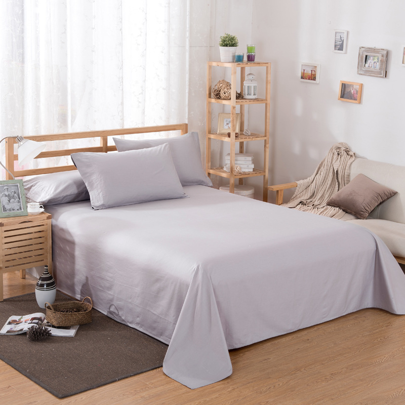 ropa de cama Solid color polyester cotton bed sheet hotel home soft brushed flat sheet queen bed cover not included pillowcase 15