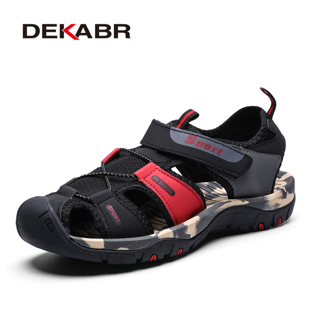 DEKABR Casual Soft Sandals Genuine Leather Men Shoes Summer Large Size 39-46 Man Sandals Fashion Men Sandals Sandals Slippers