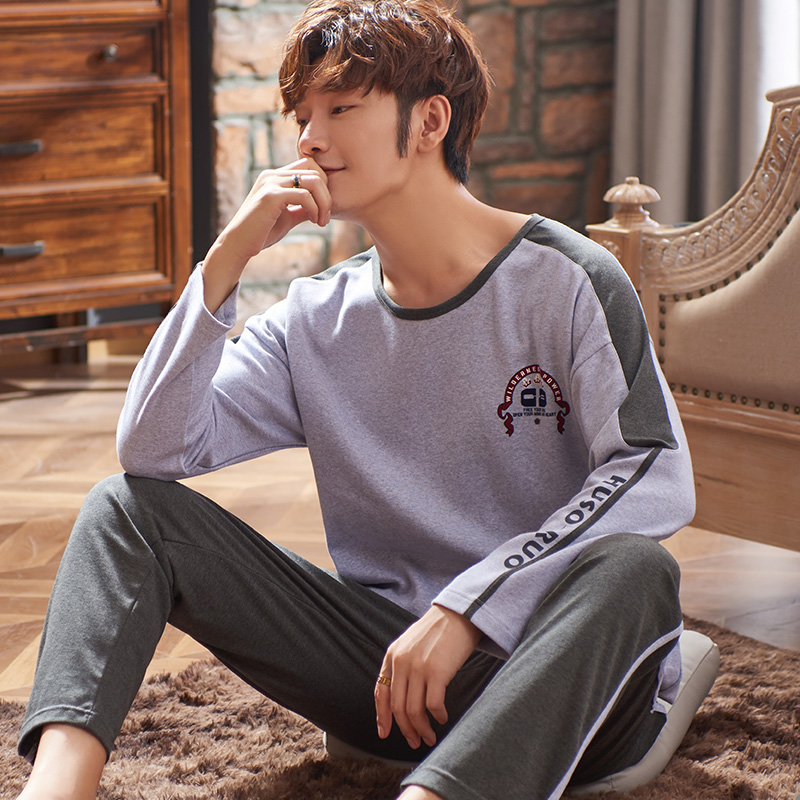 Pajama Man Set Pajamas For Men Pj Set Sleepwear Fashion Style Homesuit Homeclothes Crew Neck Long Sleeve Long Pants Printing