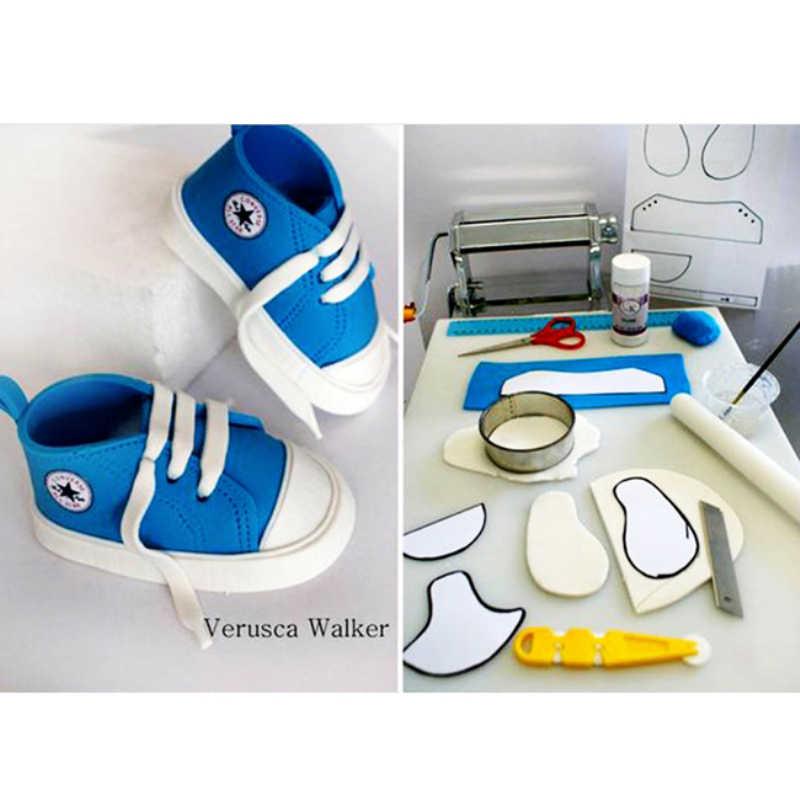 סטריאוסקופית תינוק נעלי טופס פלסטיק עוגת פונדנט DIY סבון עובש נעל צורת עוגת קישוט כלים מאפה מטבח אבזרים
