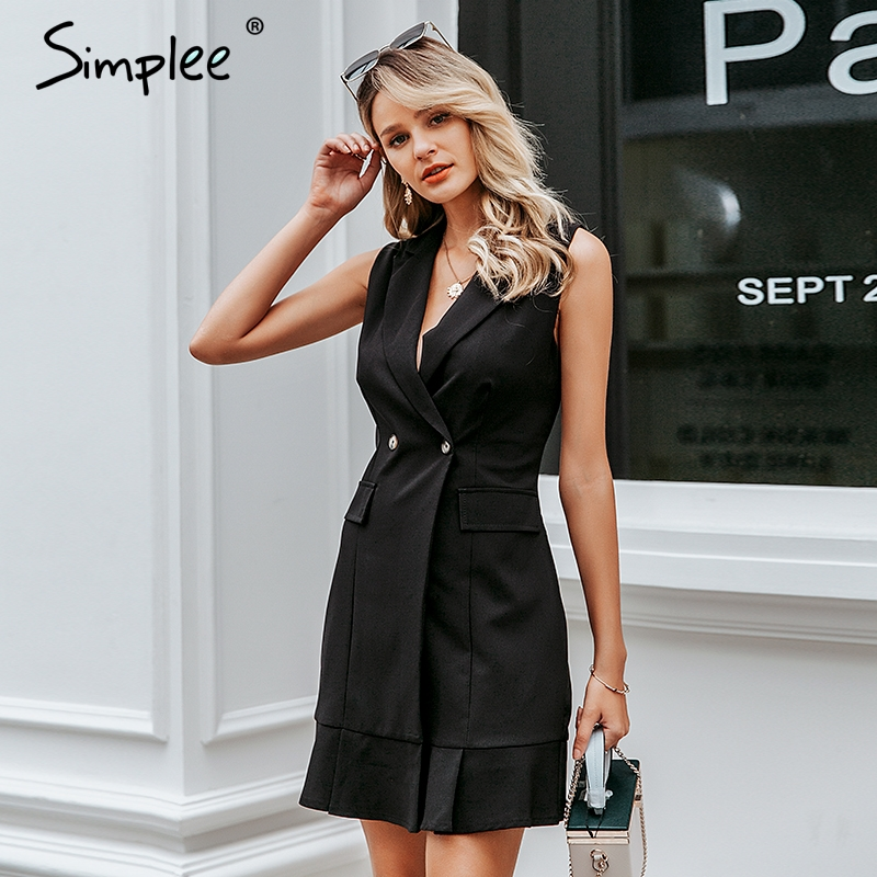Simplee Ruffled V-neck Women Blazer Dress Button Sleeveless Autumn Office Ladies Dress Casual White Female Short Dress Vestidos