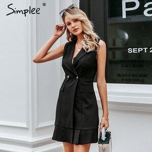 Image 1 - Simplee Ruffled v neck women blazer dress Button sleeveless autumn office ladies dress Casual white female short dress vestidos