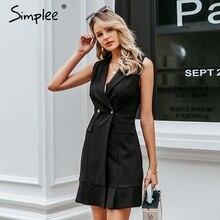 Simplee V образным вырезом женщин пиджак платье Кнопка без рукавов осень офисное женское платье Повседневная короткое платье
