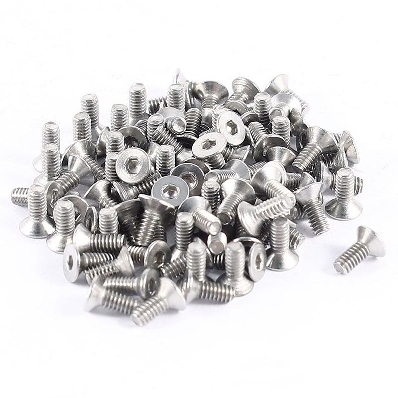 100pcs 304HC Stainless Steel Hex Countersunk Flat Bolts Screws <font><b>M2x5mm</b></font> image