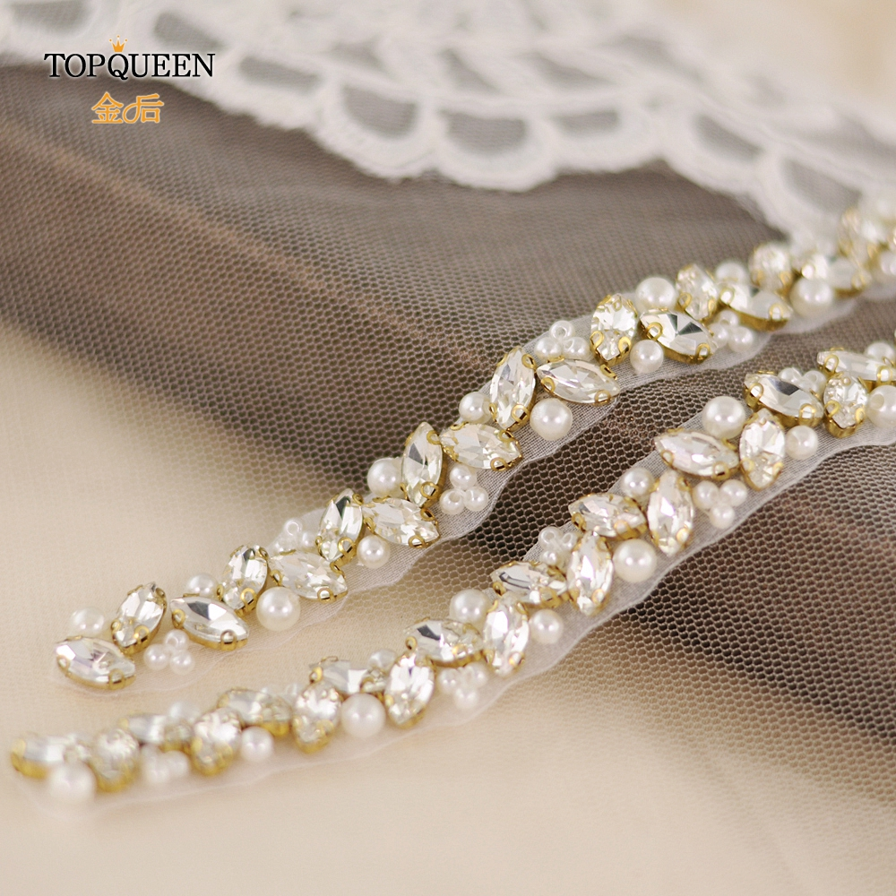 TOPQUEEN S383-G Thin Rhinestone Belt Rhinestone Beads Bridal Belt Bridal Belt With Pearl Gold Diamond Bridal Belt For Bridal