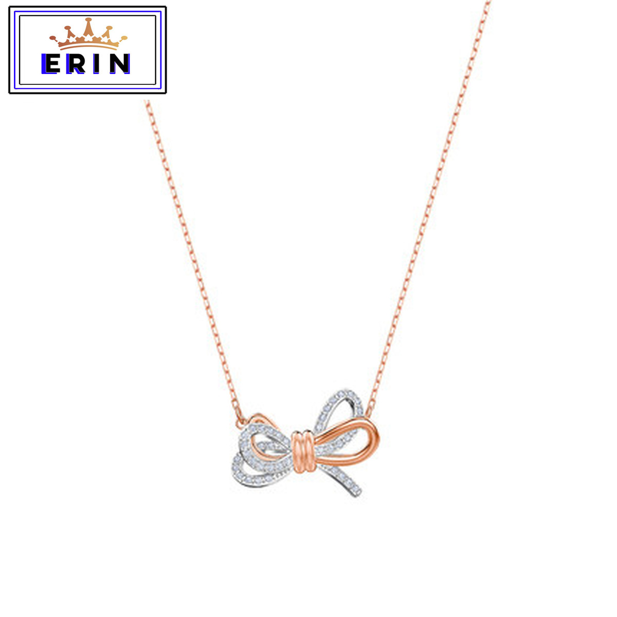 ERIN  High quality SWA exquisite romantic bow crystal gorgeous Charm Necklace