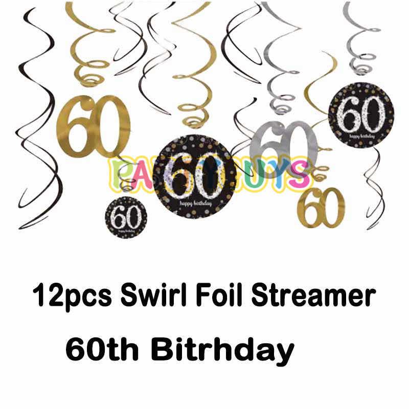 Festa de aniversário decorações balão adulto conjunto placa de papel bolo topper 60th aniversário festa favor suprimentos redemoinho pendurado para casa