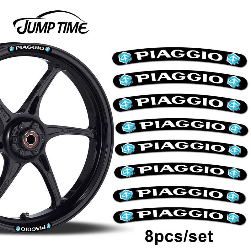 Jump Time 13cm X 1.3cm 8Pcs For Piaggio Rim Stickers Wheel Stripes Set Car Motorbike Motorcycle Racing Decal Car Styling Decor