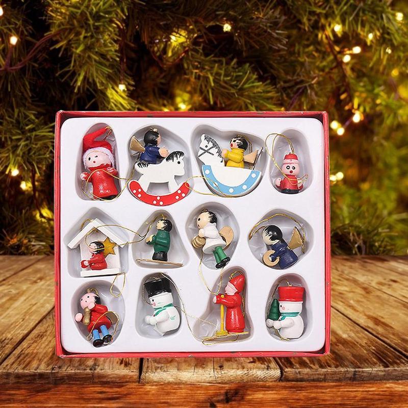 Multicolor ZZBO Christmas Tree Ornaments 6pcs Hanging Decorations Festive Season Pendant Colorful Multicolored Santa Claus Ornaments for Family Christmas Tree