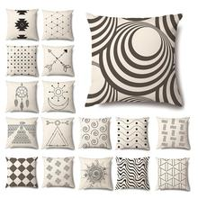 2020 New Black and White Geometric Decorative Pillowcases Polyester Throw Pillow Case Striped Geometric Pillowcase kussensloop