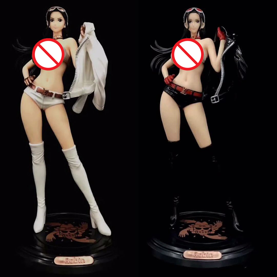 32cm Anime One Piece Nico Robin Fashion Coat PVC Action Figure Black White Fashion Nico Robin Figure Collectible Model Toy Gift