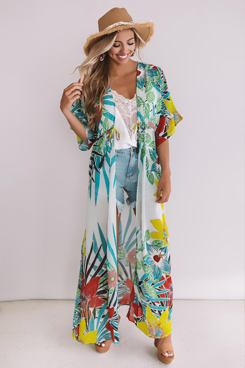 H26f423096f11459ea178c025801e7f68v - Bohemian Printed Half Sleeve Summer Beach Wear Long Kimono Cardigan Cotton Tunic Women Tops Blouse Shirt Sarong plage N796