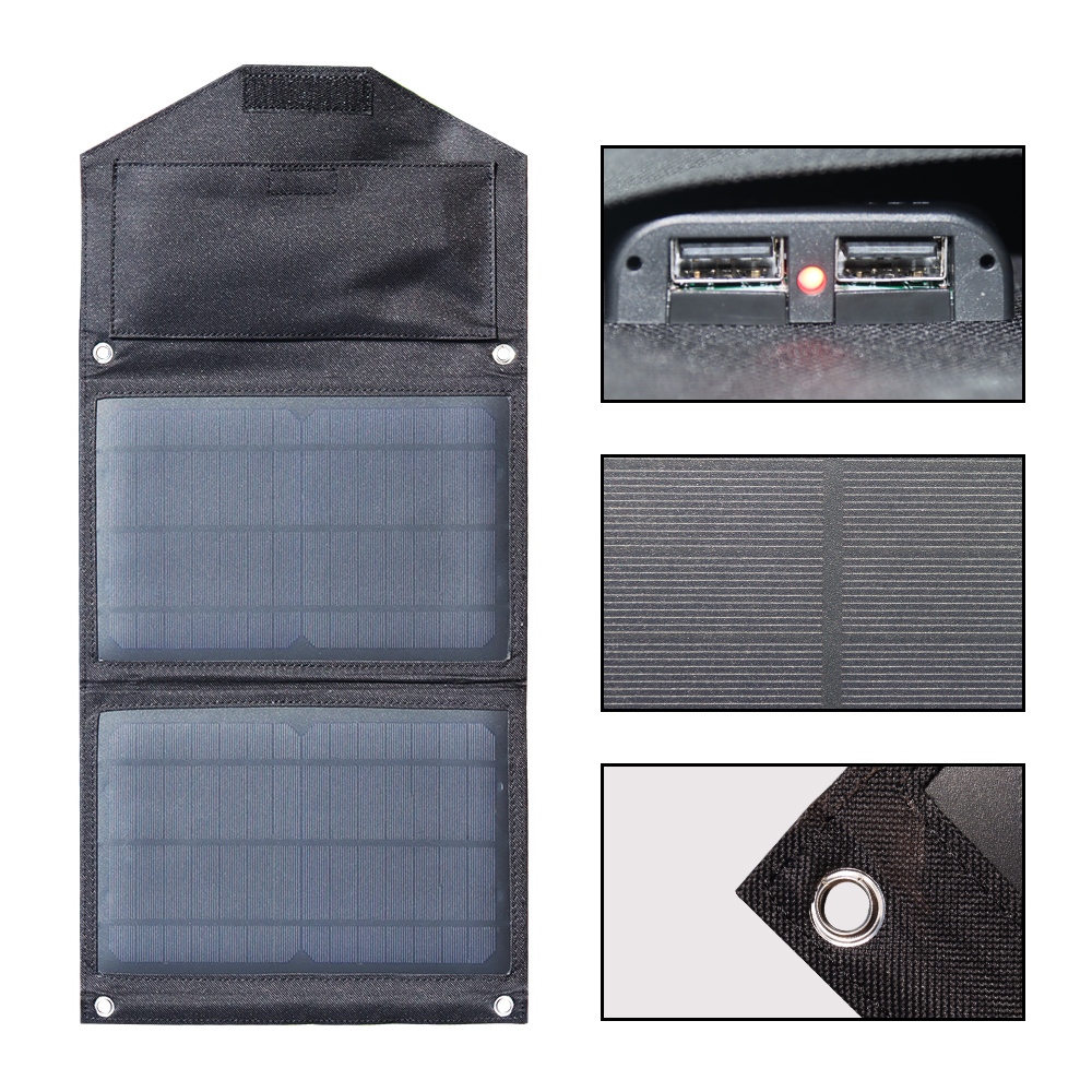 Flexible Solar Panel Kit Foldable 15w 5v Solar Charger 3A USB for Mobile Phone Powerbank Home System Hiking Camping Travel