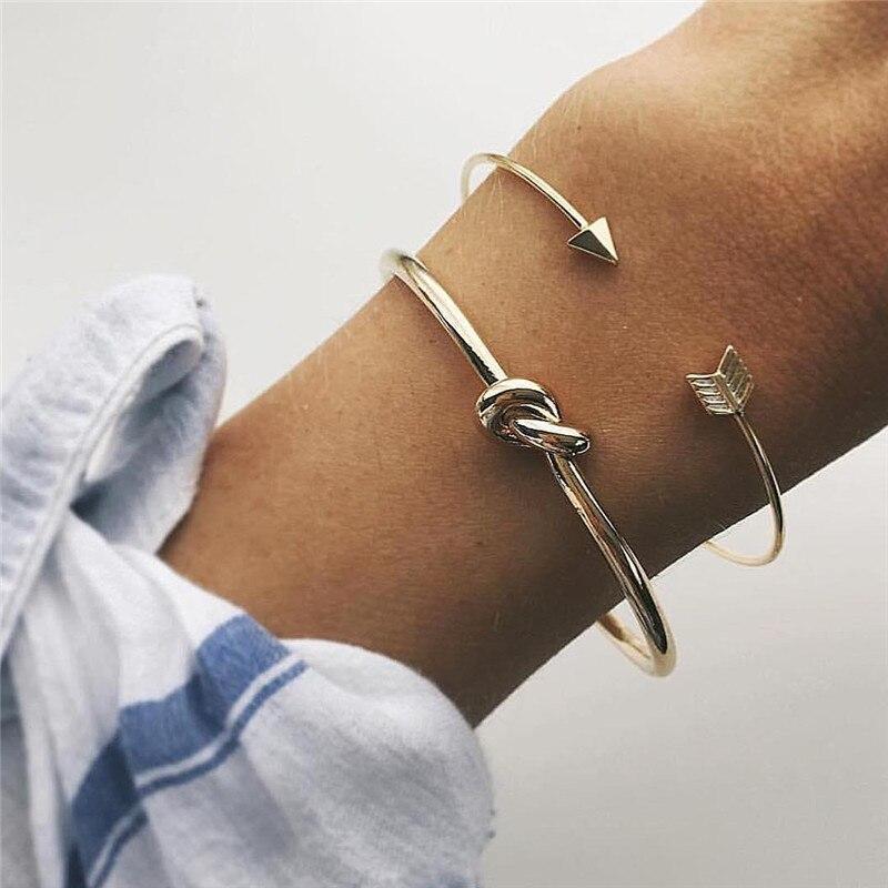 2pcs/set Vintage Gold Color Cuff Bracelet Bangles for Women Simple Knot Arrow Open Charm Bracelets for Women Jewelry