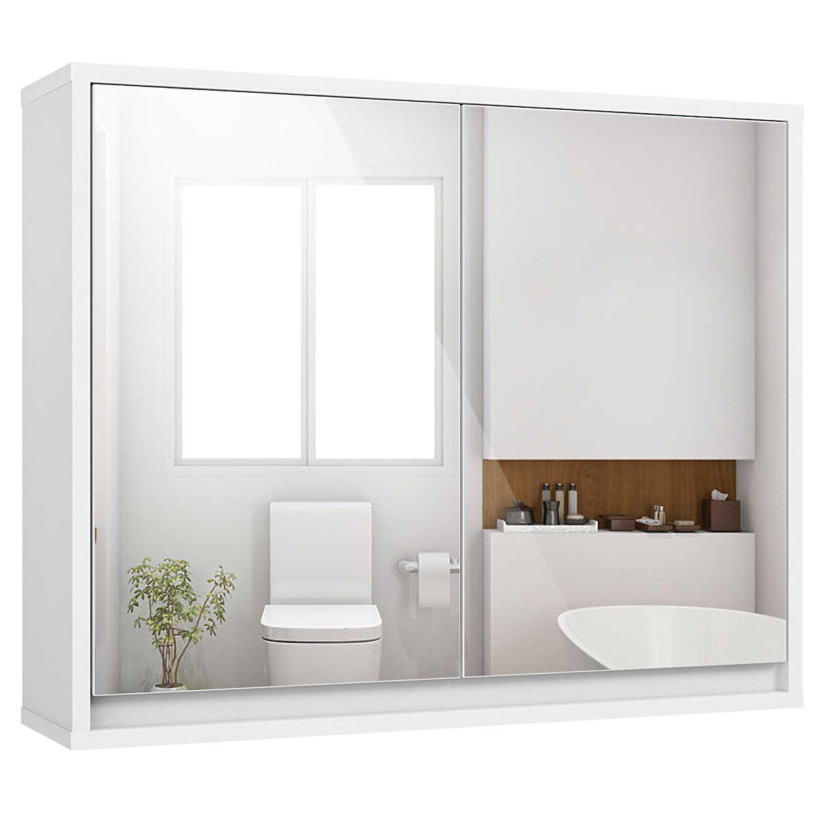 Bathroom Cabinet Single Mirror Door Wall Mount Storage Shelf Organizer Tb Sale Aliexpress
