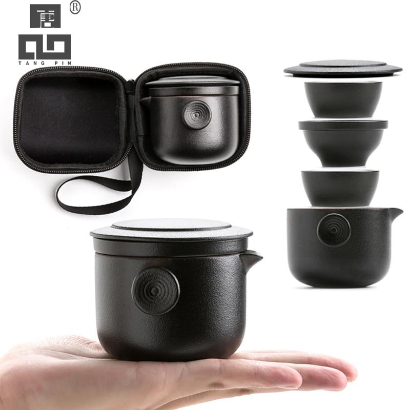 TANGPIN Ceramic Teapots With 2 Tea Cups Porcelain Gaiwan Tea Sets Portable Travel Tea Sets Drinkware