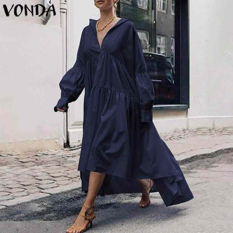 Herfst Zonnejurk Vrouwen Jurk Plus Size VONDA 2020 Vintage Lantaarn Mouw Asymmetrische Maxi Lange Jurk Casual Vestido Losse Gewaad