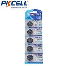 5 pces pkcell cr2025 dl2025 3v cr 2025 bateria de pilha botão lítio para relógios relógios calculadoras brinquedos