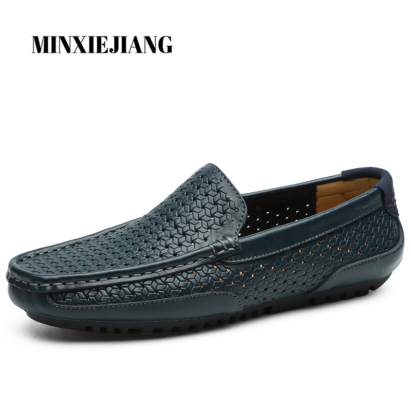 MINXIEJIANG High Quality Leather Men Casual Shoes Summer Male Breathable Resistant Empty Men Shoes Soft Background