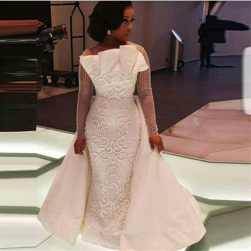 US $219.0 25% OFF|African Overskirts Wedding Dresses Sheer Neck Illusion  Long Sleeves Plus Size Wedding Dress 3D Appliques Satin Bridal Gowns on ...