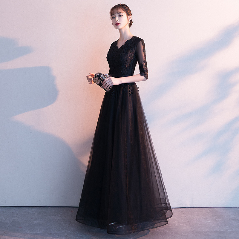 Elegant Evening Gown Women's 2019 New Style Banquet Nobility Long Black Debutante Annual General Meeting Dress Black Dress Slimm