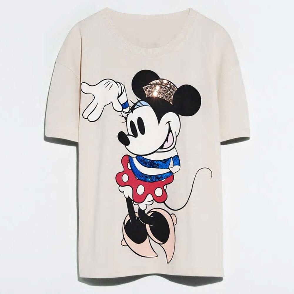 Disney Family T-Shirt Fashion Winnie the Pooh Mickey Mouse Stitch Fairy Dumbo SIMBA Cartoon Print Women T-Shirt Cotton Tee Tops 16