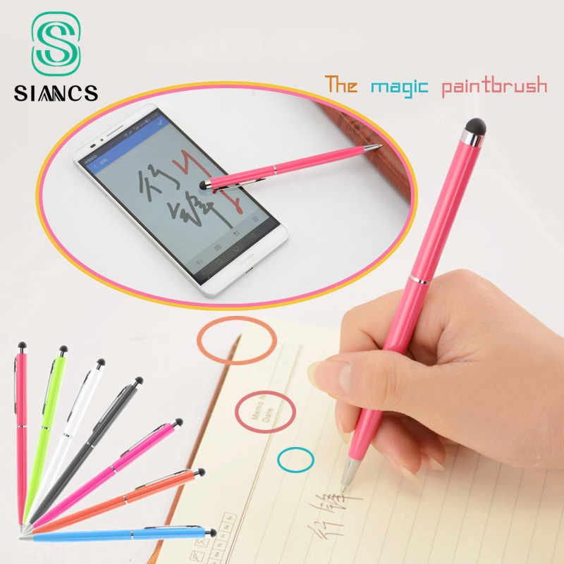 מגע קיבולי עט חרט 2 ב 1 כדור נקודת עט מיקרופייבר טלפון סלולרי מסך מגע עט עבור מחשב נייד Tablet Smartphone