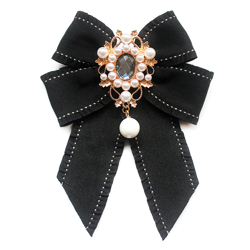 2019 Fashion New Flower Girl Uniform Rhinestone Bow Tie Brooch Black White Striped Shirt Ribbon Bowtie For Women Accessories