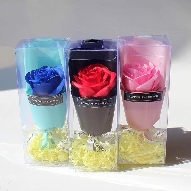 Beauty Handmade Rose Soap With PVC Gift Box Mini Bouquet Flower Creative Soap For Christmas