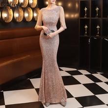Элегантное женское вечернее платье с блестками длинное облегающее